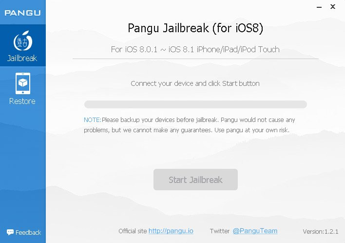 Step 3 - The Pangu App needs no installation and will locate your connected iDevice once running. After the idevice is found by PanGu click the 'Start Jailbreak' button.