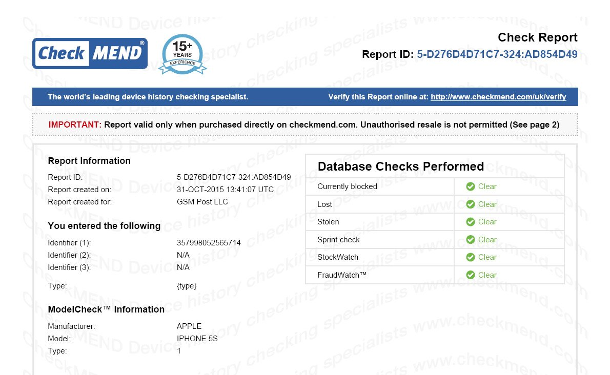 Example: Checkmend report