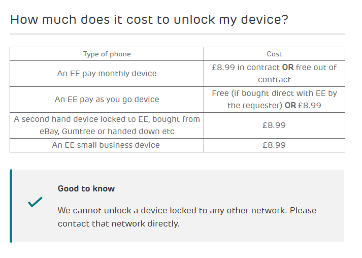 Screenshot: How to unlock an EE device to use with another network.