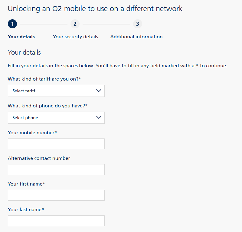 Screenshot: If you are trying to unlock your iPhone 7 Plus from O2 but don't have a MyO2 account you will need to complete this online form.