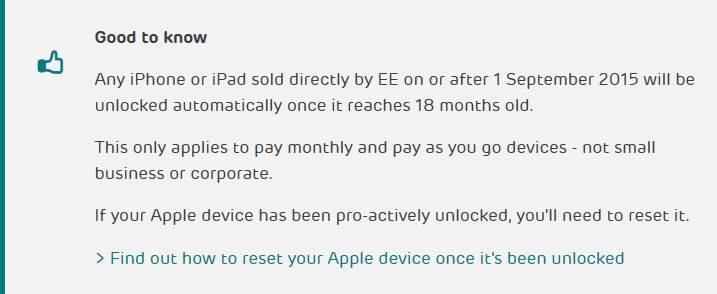 Screenshot: EE say they will unlock iPhone XS, XS Max or XR automatically after 18 months.