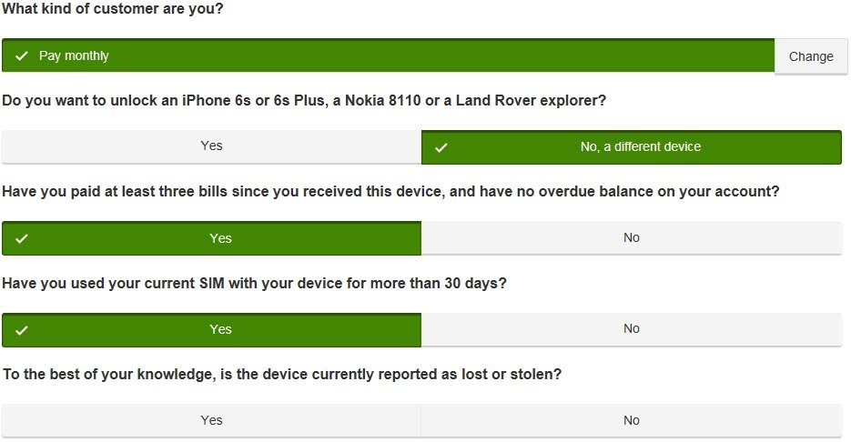 Screenshot: Typical questions asked on the Vodafone Network Unlock Code request form.