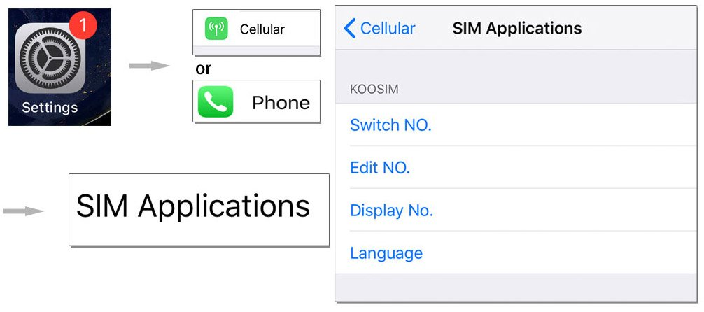 Step 4. Navigate to SWITCH NO. in the phone settings.