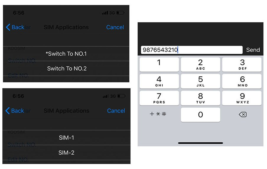 Step 5. Choose a number, edit the number for the SIM and select to display on screen.