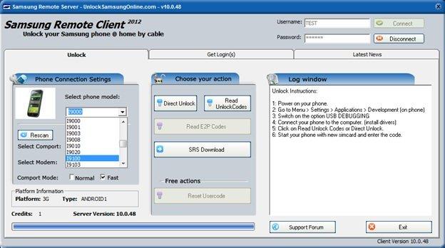 Screenshot: Phone unlocking software.